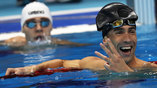 "В заплыве на 100 м баттерфляем три спортсмена доплыли до ""серебра"", в том числе и Майкл Фелпс"