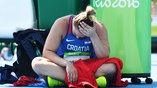 Хорватская легкоатлетка Сандра Перкович концентрируется перед очередной попыткой, чтобы отправить диск как можно дальше