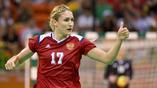 Российская гандболистка Владлена Бобровникова после гола в Норвежские ворота