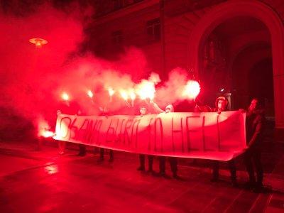 """У посольства США в Москве устроили акцию """"Обама, гори в аду"""". Видео"""