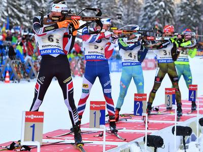 Бронзовая эстафета биатлонистов России в Антерсельве
