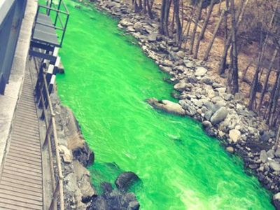 Испанцев удивила внезапно позеленевшая река