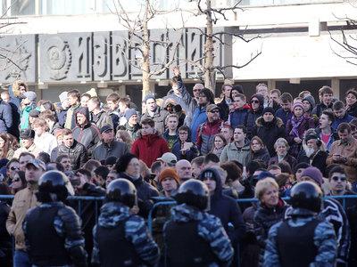 После задержания Навального неизвестные распылили газ на Пушкинской площади