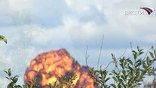 """16 августа во время генеральной репетиции воздушного шоу МАКС-2009 над аэродромом в Жуковском столкнулись два истребителя Су-27 из состава пилотажной группы """"Русские витязи"""""""