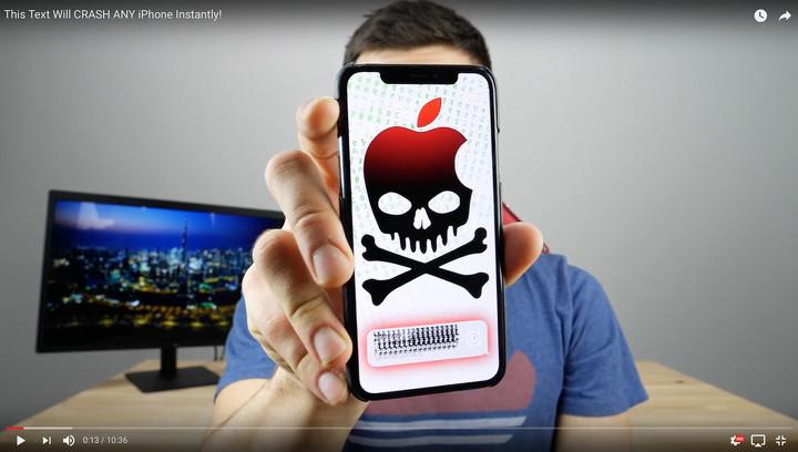 """Обнаружено """"сообщение смерти"""", """"замораживающее"""" любой iPhone"""