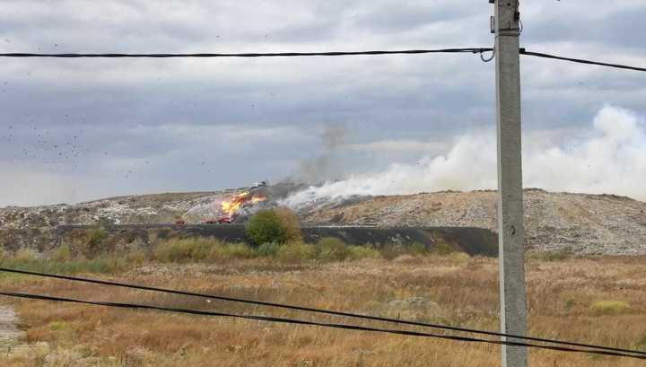Пожар на мусорном полигоне под Новосибирском охватил три тысячи квадратных метров