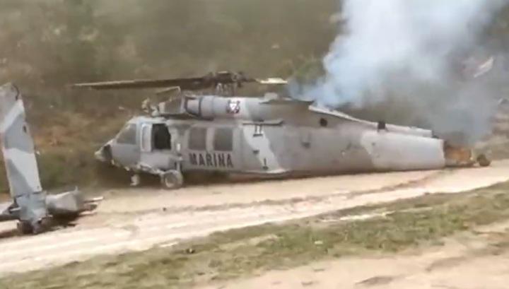 Очевидец запечатлел на видео момент фатального крушения военного вертолета