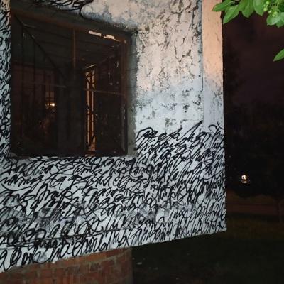В Екатеринбурге вандалы испортили пять работ художника-каллиграфиста Покраса Лампаса