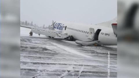 Появилось видео с места ЧП с лайнером авиакомпании ЮТэйр в Усинске