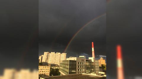 В День Победы небо над Воронежем украсила двойная радуга