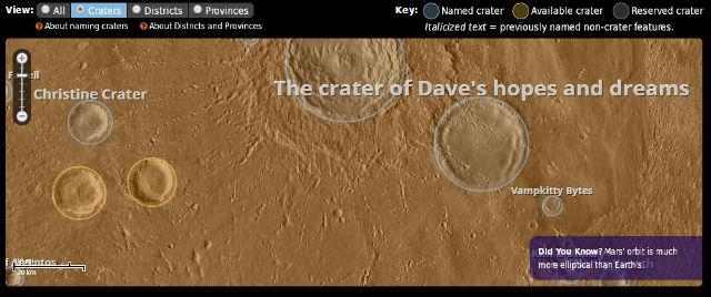 Новый проект инвестиционной компании Uwingu даёт возможность любому желающему дать название одному из кратеров Марса