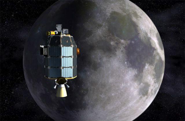 Зонд LADEE над Луной в представлении художника