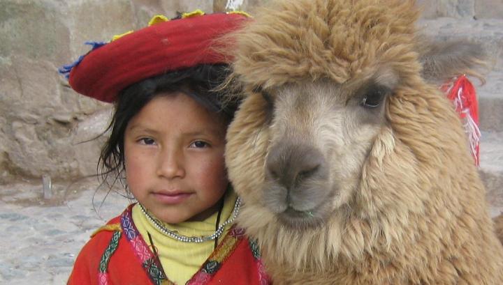 Перуанская девочка со своей альпакой недалеко от Пласа-де-Армас в Куско