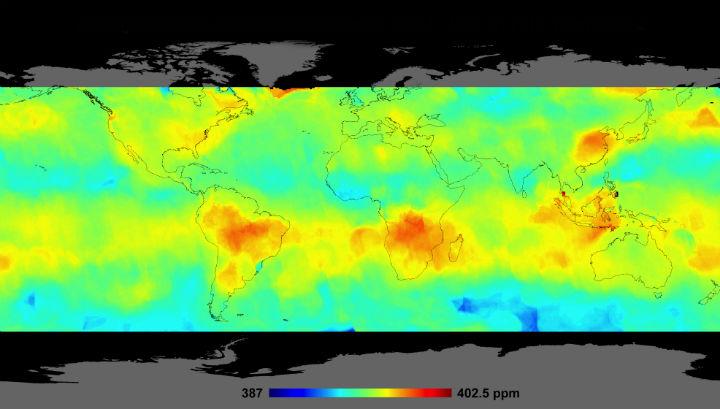 Карта распределения углекислого газа в атмосфере Земли
