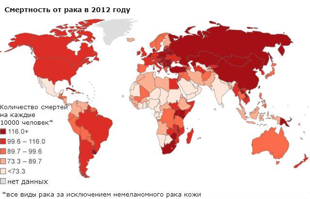 Смертность от рака по всему миру за 2012 год