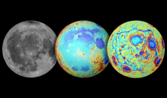 Слева направо: Луна в видимом свете, топография, гравитационные градиенты