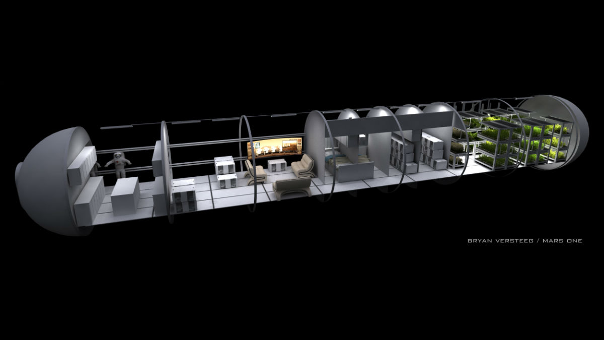 Внутреннее устройство корабля миссии Mars One в представлении художника