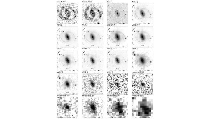 Каждая галактика изучалась на 21 частоте (длине волны) ≈ от ультрафиолетовой до дальней инфракрасной