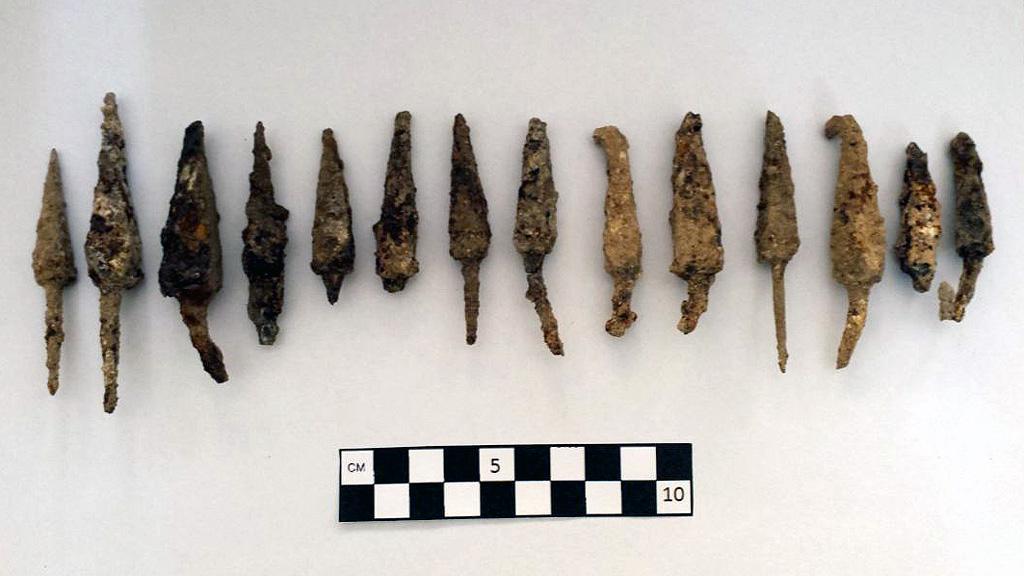 Наконечники стрел, найденные в Монфоре. Фото: Adrian Boas