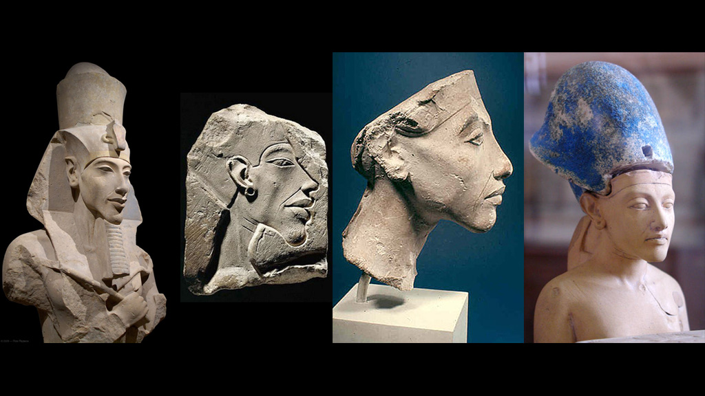 Эволюция образа Эхнатона за 17 лет правления, при скульпторах Беке и Тутмосе Младшем. Фото: Каирский музей / Египетский музей в Берлине / Лувр