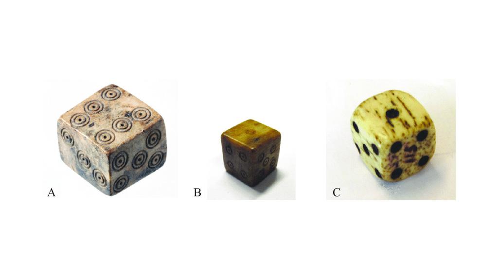 Примеры кубиков из Нидерландов: А) римский период, B) средневековый, C) постсредневековый. Изображение: Jelmer Eerkens