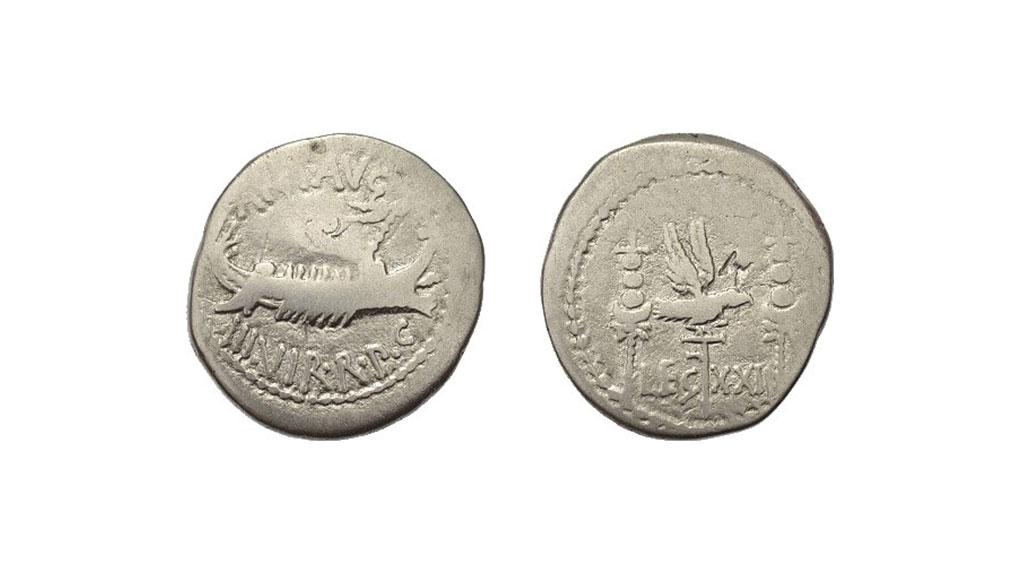 Денарий Марка Антония, монета XXI легиона. Фото с сайта forumancientcoins.com