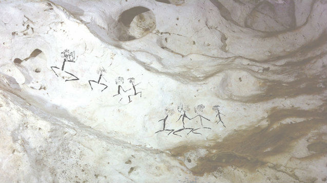 Человеческие фигуры датируются 13600 годами.
