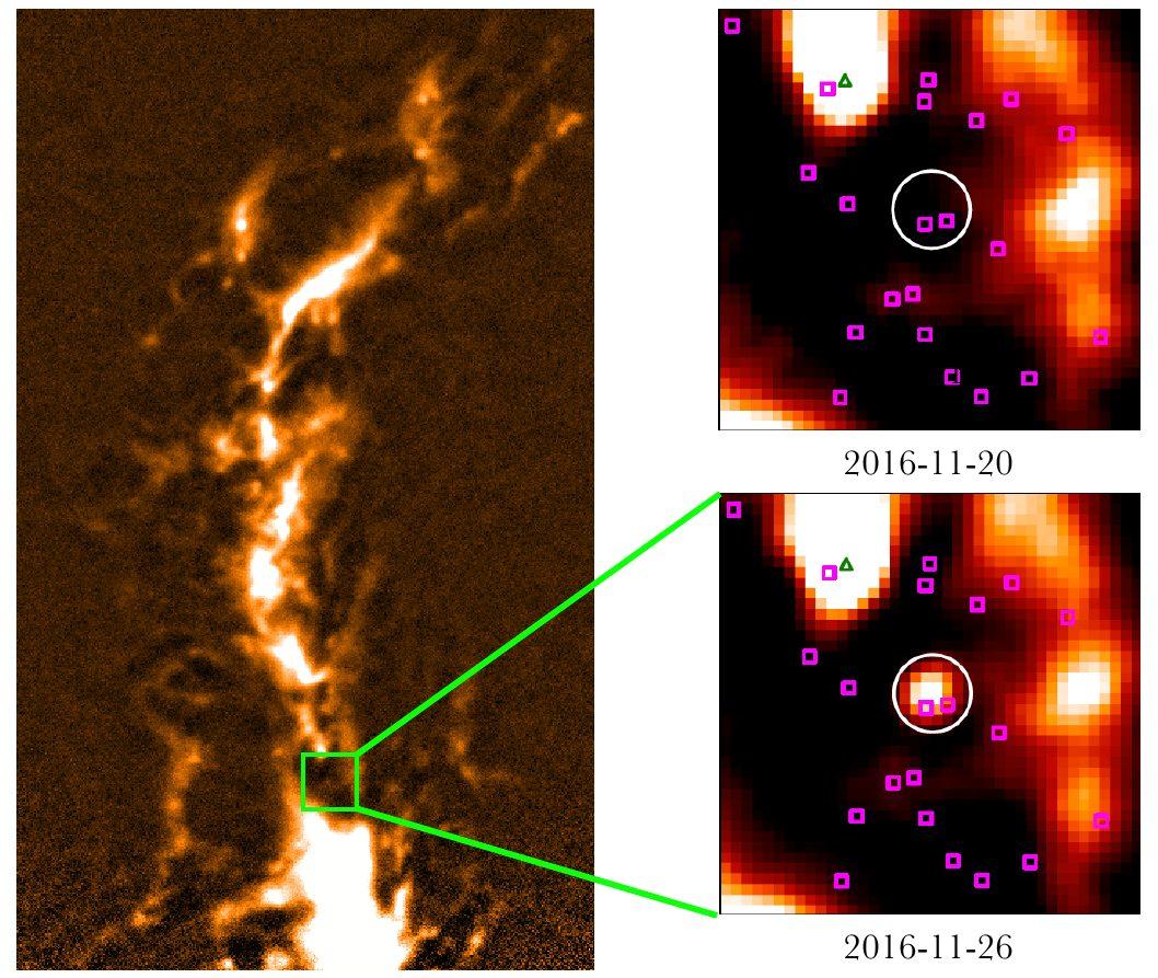 Слева Облако Ориона на длине волны 0,85 мм. Справа изображение района звезды за шесть дней до вспышки и в момент вспышки.