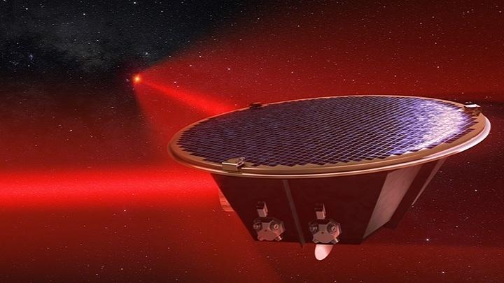 Проектируемый орбитальный детектор гравитационных волн нового поколения LISA.