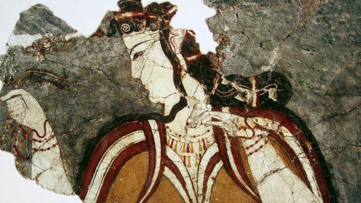 Фреска с изображением женской фигуры в акрополе Микен.