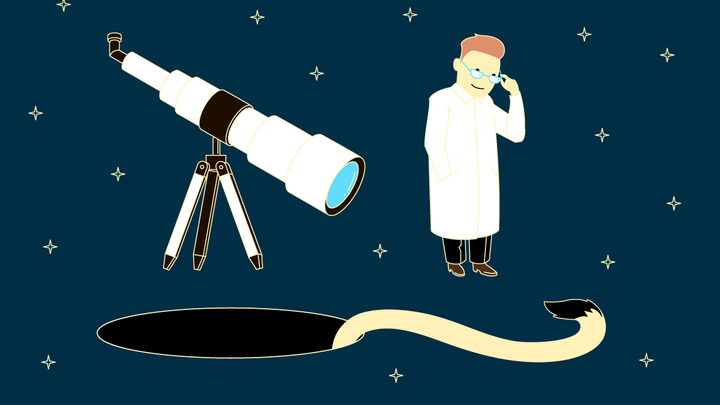 """""""Хвосты"""" квазаров оказались неожиданно яркими. Иллюстрация МФТИ."""