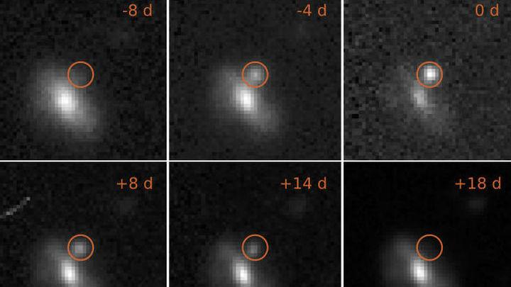 Серия фото показывает развитие вспышки во времени (в правом верхнем углу указано количество дней).