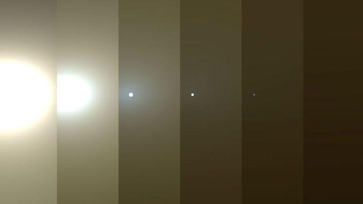 """Серия снимков показывает, как для """"Оппортьюнити"""" тускнеет солнце."""