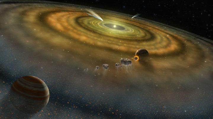 Газообразный водород, окружавший формирующиеся тела Солнечной системы, стал частью океанов нашей планеты.