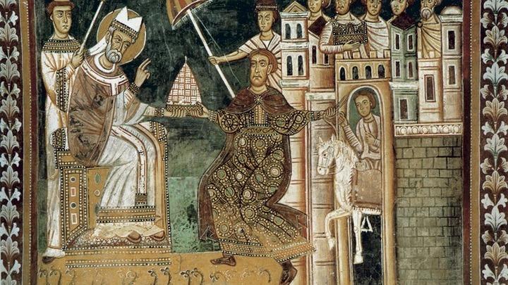 Император Константин Великий вручает тиару епископу Римскому Сильвестру I. Фреска в капелле Святого Сильвестра базилики Четырёх мучеников (Рим). Сер. 13 в.