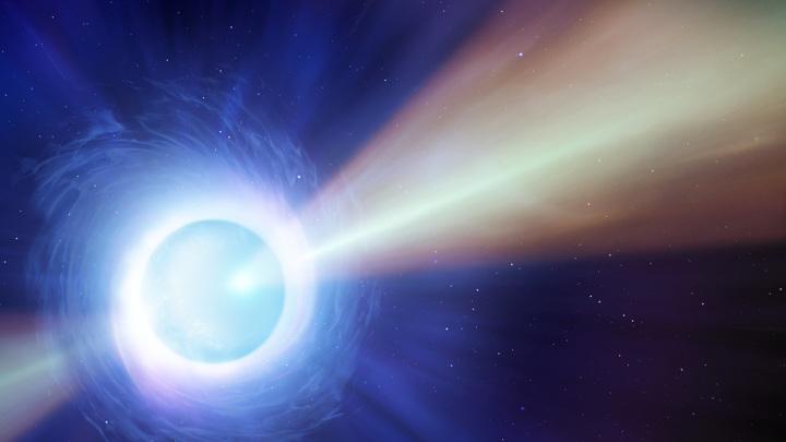 Пульсар представляет собой нейтронную звезду с мощным магнитным полем.