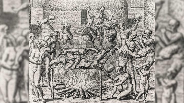 Гравюра XVI века, изображающая людоедов из Южной Америки.