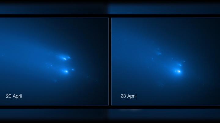 В апреле 2020 года ядро кометы ATLAS распалось на несколько фрагментов, что снизило плотность её хвоста. Но остаётся надежда, что приборы зонда Solar Orbiter зафиксируют вещество последнего.