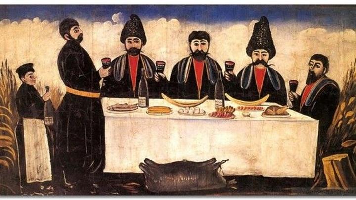 """Нико Пиросманашвили (Пиросмани) """"Кутеж четырёх горожан"""", Музей изобразительных искусств им. Шалва Амиранашвили в Тбилиси"""