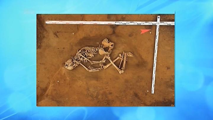 Красноярские археологи откопали на Енисее средневековый скелет