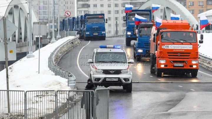 Путин принял участие в церемонии открытия транспортной развязки в Химках