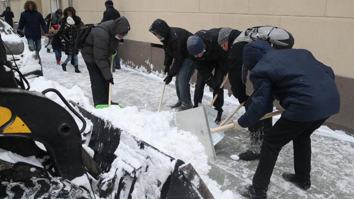 Москвичи взялись за лопаты: расчистка сугробов превратилась во флешмоб