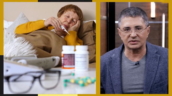 """Кадр из программы """"Доктор Мясников"""". Мясников запретил принимать парацетамол при похмелье"""