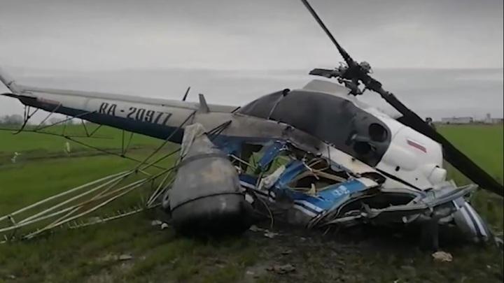 В Краснодарском крае разбился вертолет, пилот погиб