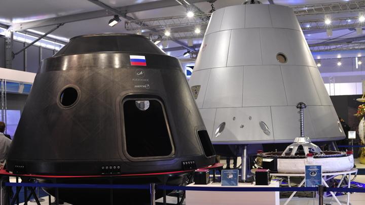 Корпус командного отсека пилотируемого транспортного корабля нового поколения, выполненный из углепластика / фото - Андрей Становов