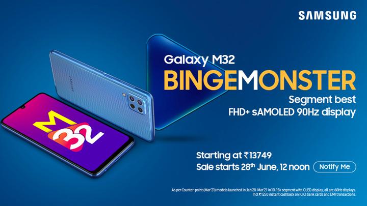 Представлен недорогой смартфон Samsung Galaxy M32 с огромной батареей