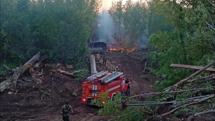 К тушению пожара в Оренбурге привлечена военная авиация