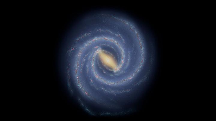 Так видят современные астрономы крупномасштабную структуру Млечного Пути. Звезды и их скопления сгруппированы в спиральные рукава.