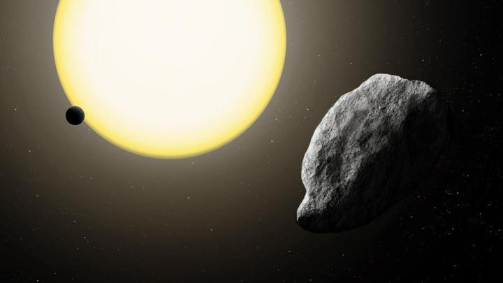 Самый близкий в Солнцу астероид 2021 PH27 глазами художника. Между Солнцем и астероидом – только Меркурий.