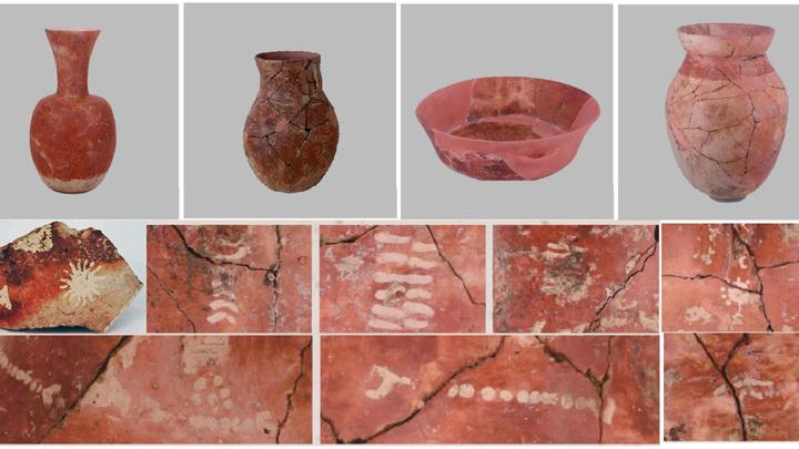 Типы сосудов, обнаруженных в захоронении в Цяотоу.